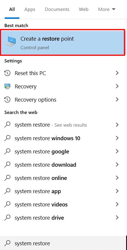 create a restore point in windows os