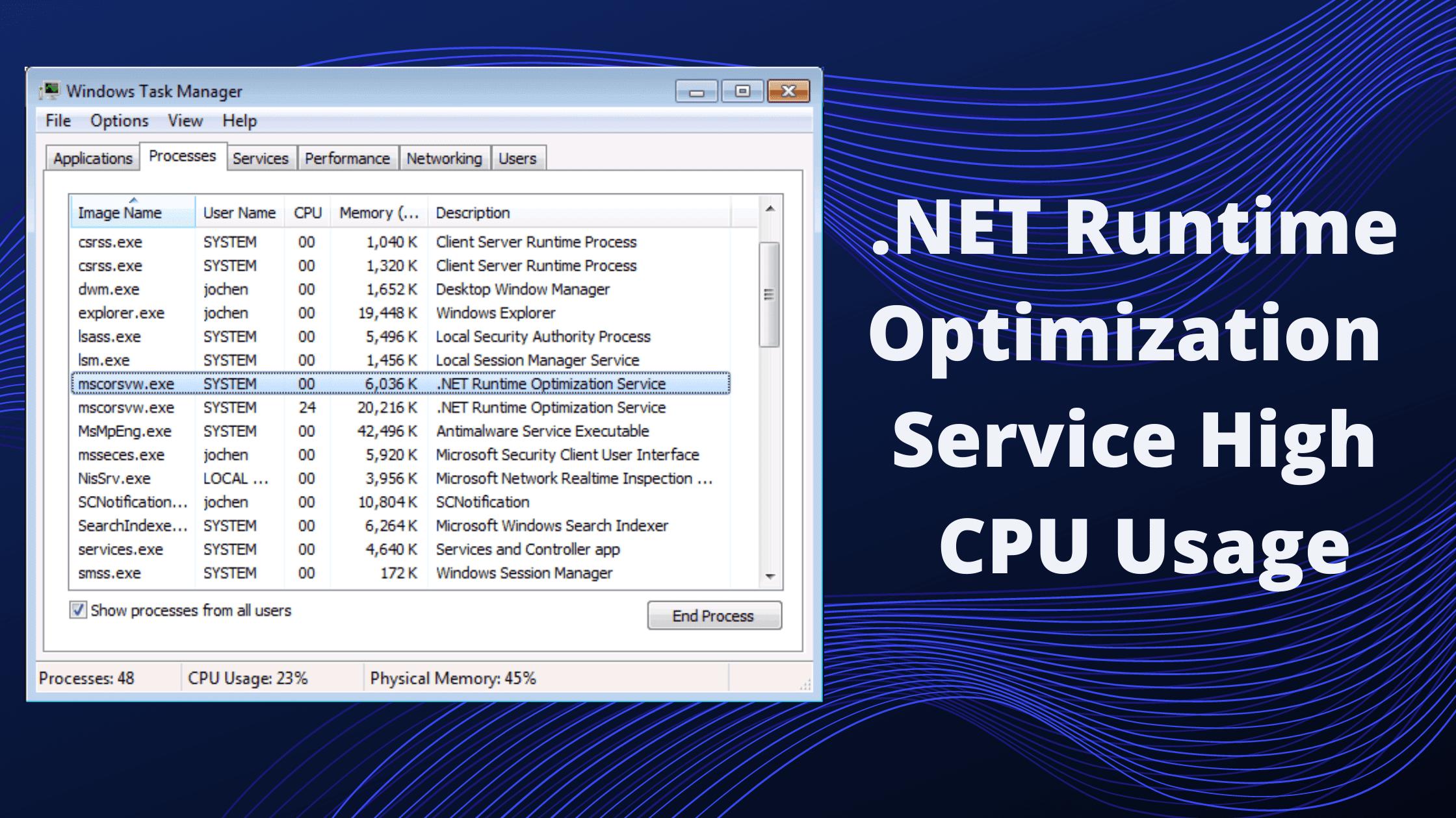 .net runtime optimization service high cpu usage