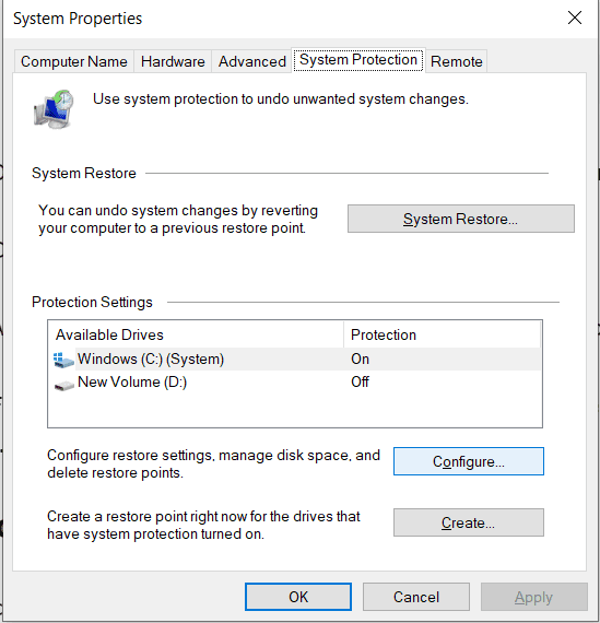 System protection tab
