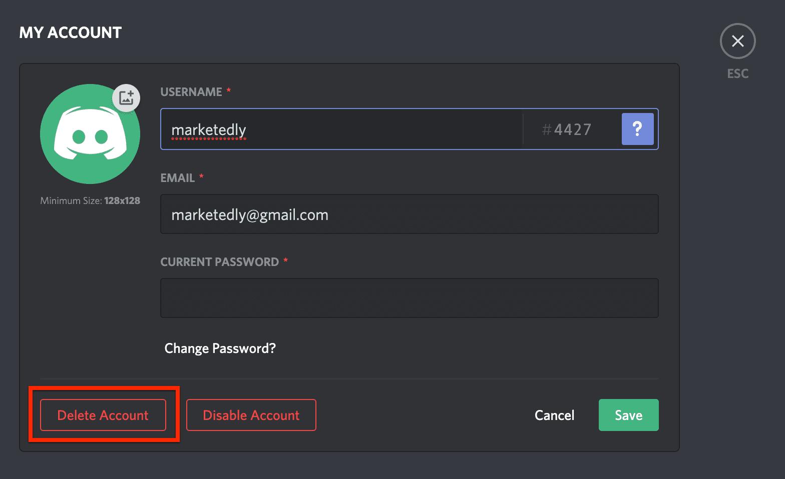 delete your discord account