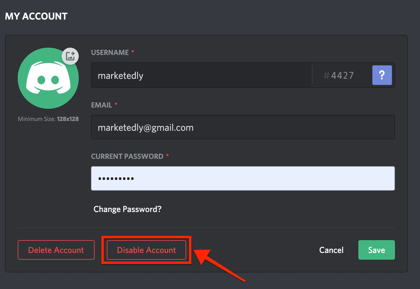 disable account discord