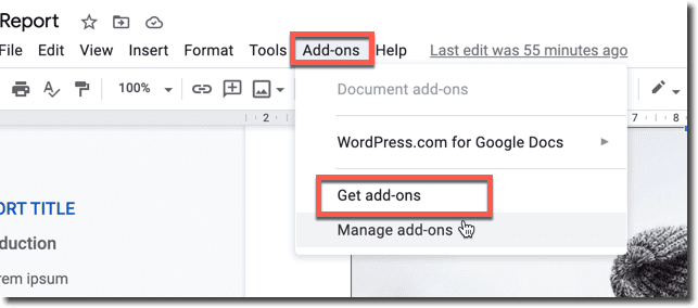 get add-ons google docs