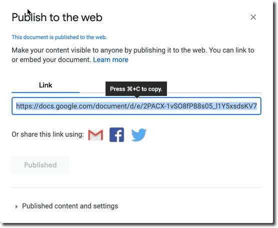 publish to the web image