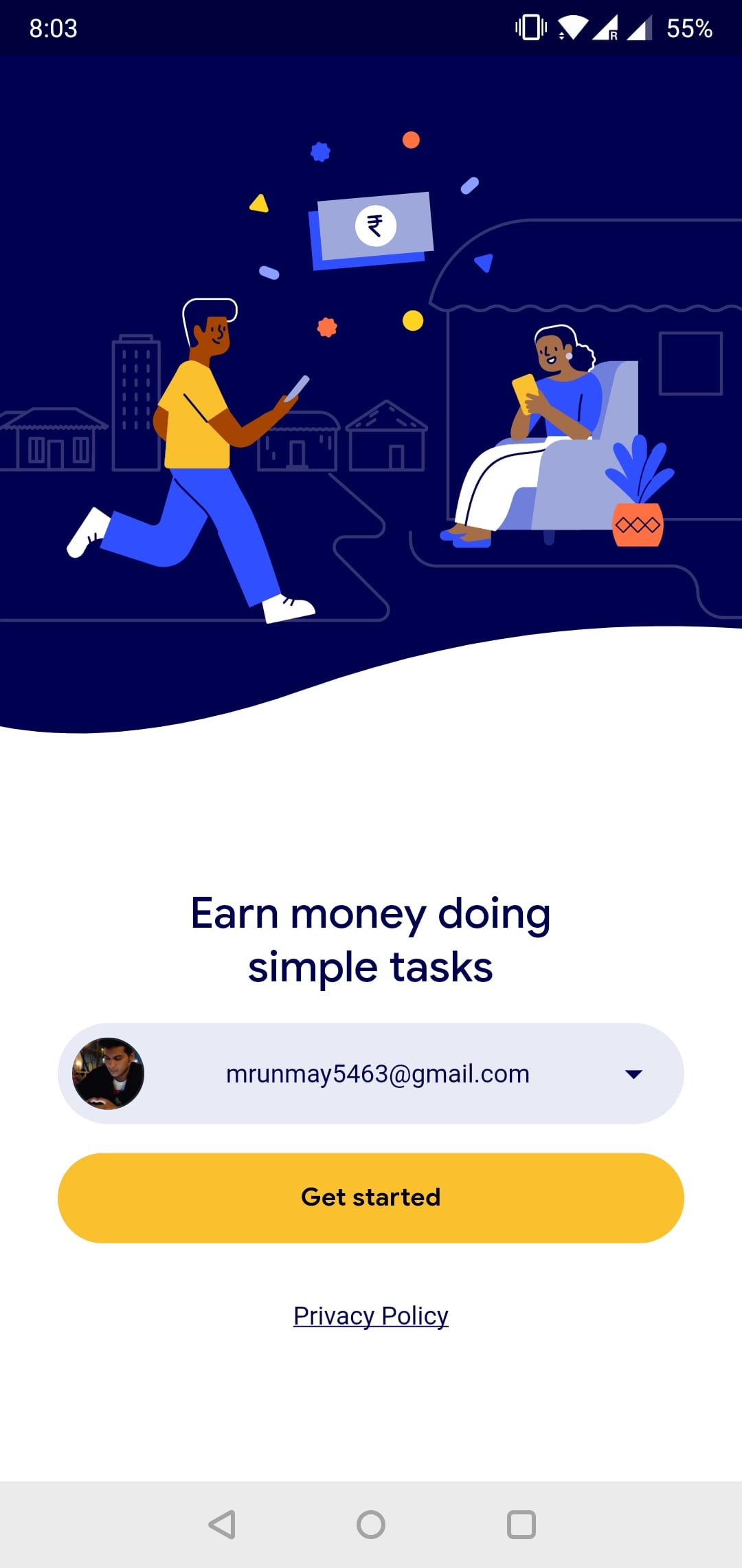 sign up to task mate android app