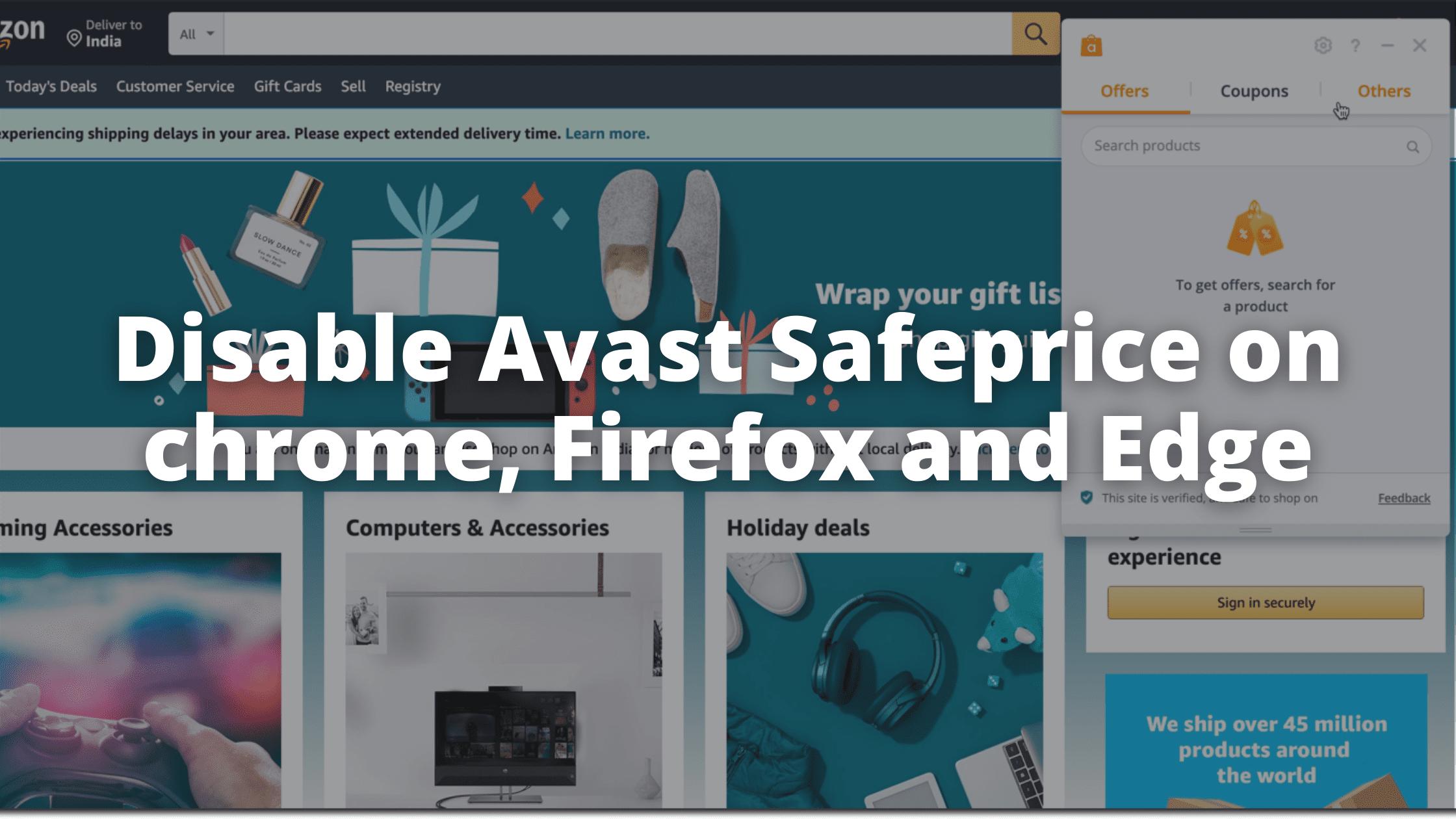 Disable Avast Safeprice