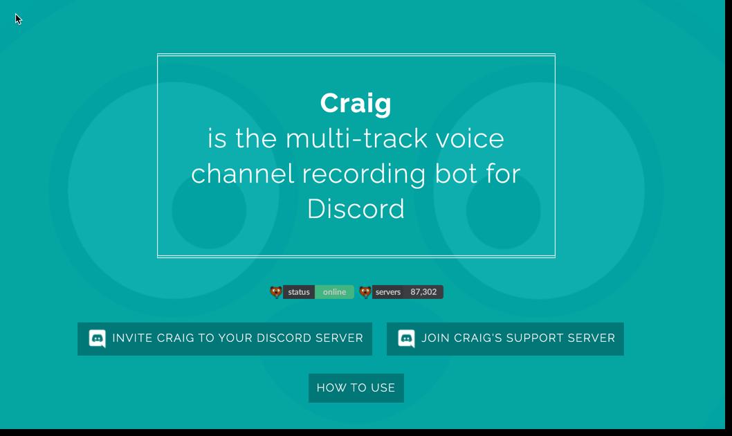 craig audio recording bot discord
