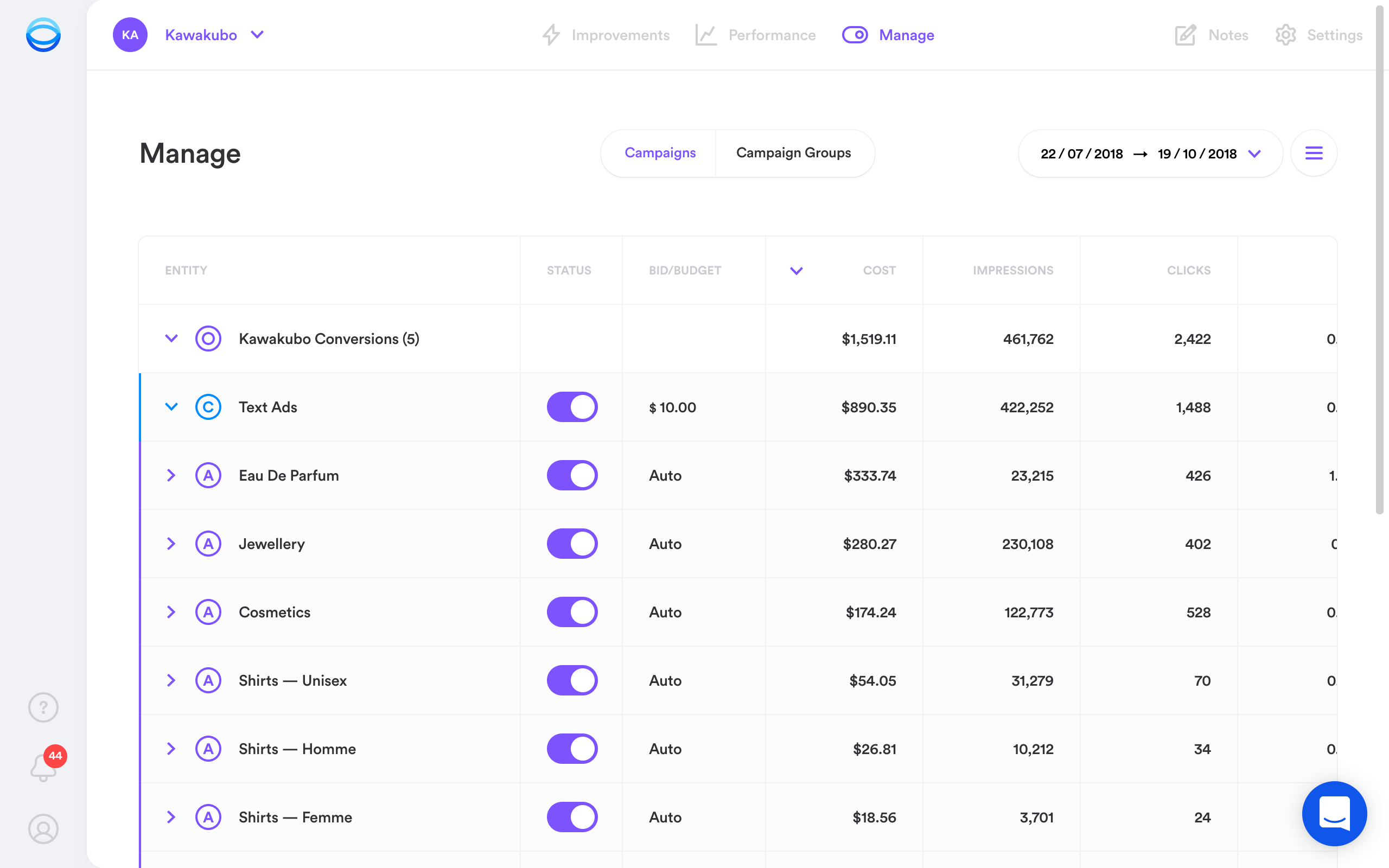 Opteo Google Ads management tool